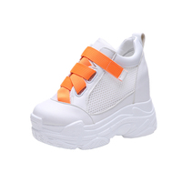 Women's Chunky Sneakers 2019 Summer Hidden Heels Platform Shoes For Woman White Sneakers Breathable Female Shoes Summer Sneaker