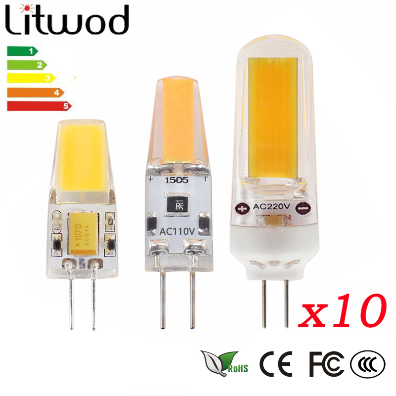 Litwod Z10 10pcs G4 LED Lamp Bulb Lamp High Power COB AC12V DC12V AC220V Light Replace 60W Halogen Lamp 360 Degrees Beam Angle