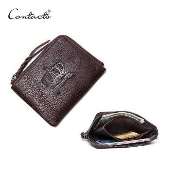 CONTACT'S Coin Purse Genuine Leather Men Women Casual Solid Wallets Zipper Square Small Walet With More Card