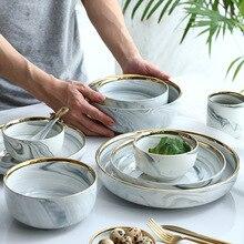Phnom Penh мраморная керамическая миска, современная домашняя миска для супа, тарелка, миска для лапши, большая тарелка, поднос, блюдо, вечерние столовые приборы