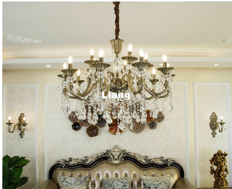все цены на Hot Selling Bronze Color Alloy Lustres Chandelier Modern Crystal Vintage Crystal Chandelier E14 AC White High Quality Chandelier онлайн