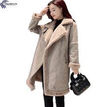 TNLNZHYN2017 Новая Мода Женская Одежда Хан Издание Большой Ярдов Длинные Зимние Пальто Женщин Искусственной Замши Мягкий Хлопок Длинный Рукав Пальто
