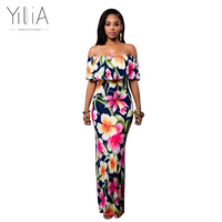 Yilia 2016 New Women Autumn Blouse Sexy Halter Off Shoulder Dacron Plain Solid Long Sleeve Blouses