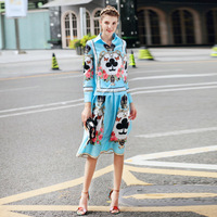Europe And United States Autumn 2018 New High Quality Foreign Trade Women's Long Sleeved Shirt + Printed Semi Skirt Suit