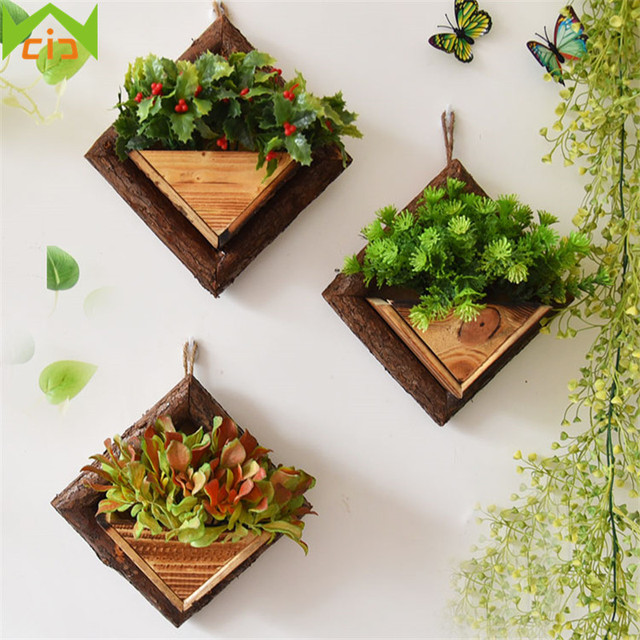 WCIC Handmade Frame Succulent Plants Wooden Wall Mounted Artificial Flower  Pot Wood Wall Hanging Flower Pots