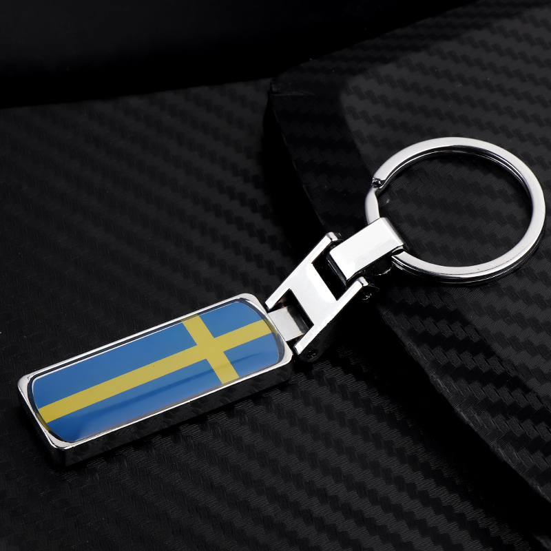 3D Metal fashion Sweden National Flag <font><b>Keychain</b></font> <font><b>For</b></font> Volvo V70 XC60 S60 V60 V40 <font><b>BMW</b></font> Audi <font><b>Car</b></font> <font><b>styling</b></font> accessories Wallet key chain image