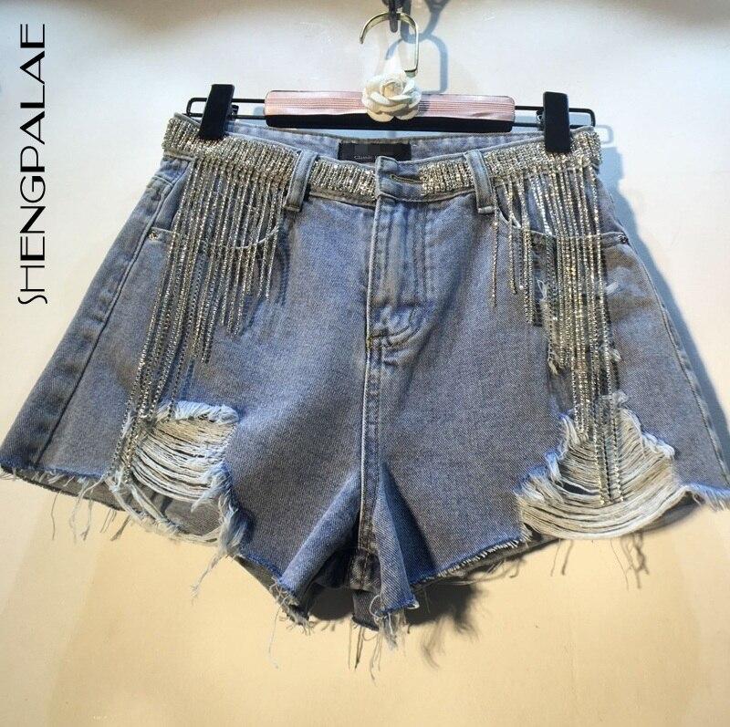 SHENGPALAE 2020 Best Quality Split Joint Tassels Short Jeans High Waist Hole New Spring Korean Fashion Women Shorts FN906