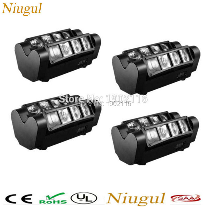 цены  Niugul 4pcs/lot RGBW 8X10W LED Spider light/DMX512 led Beam Lights/LED Scan effect stage lighting/KTV disco home party lights