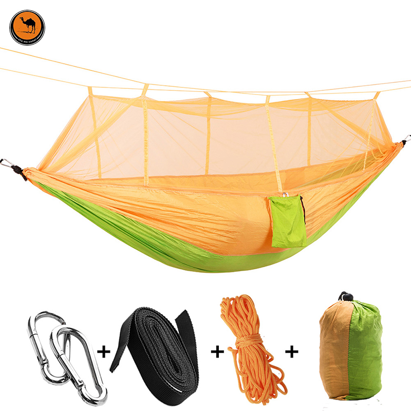 High Strength Double Person Hammock Portable Camping Furniture Outdoor Travel Kits Stitching Hammock camping hammock moko outdoor double hammock 2 person portable parachute hammock swing with straps travel hammock for camping