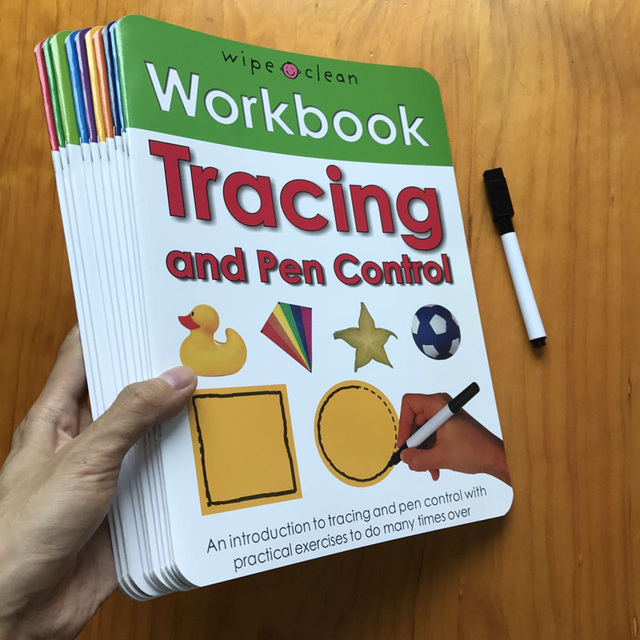 10Books/set Wipe Clean Workbook Children English Writing Book Times Tables Maths Number Skill Tricky Phonics Words Alphatbet ABC 1