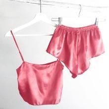 Summer Sexy Silk Pajamas Cami Shorts Set Cute Pink Sling Pajamas Women Solid Sleepwear Simple Sleeveless Satin Ladies Nightwear сумка printio хочу на море
