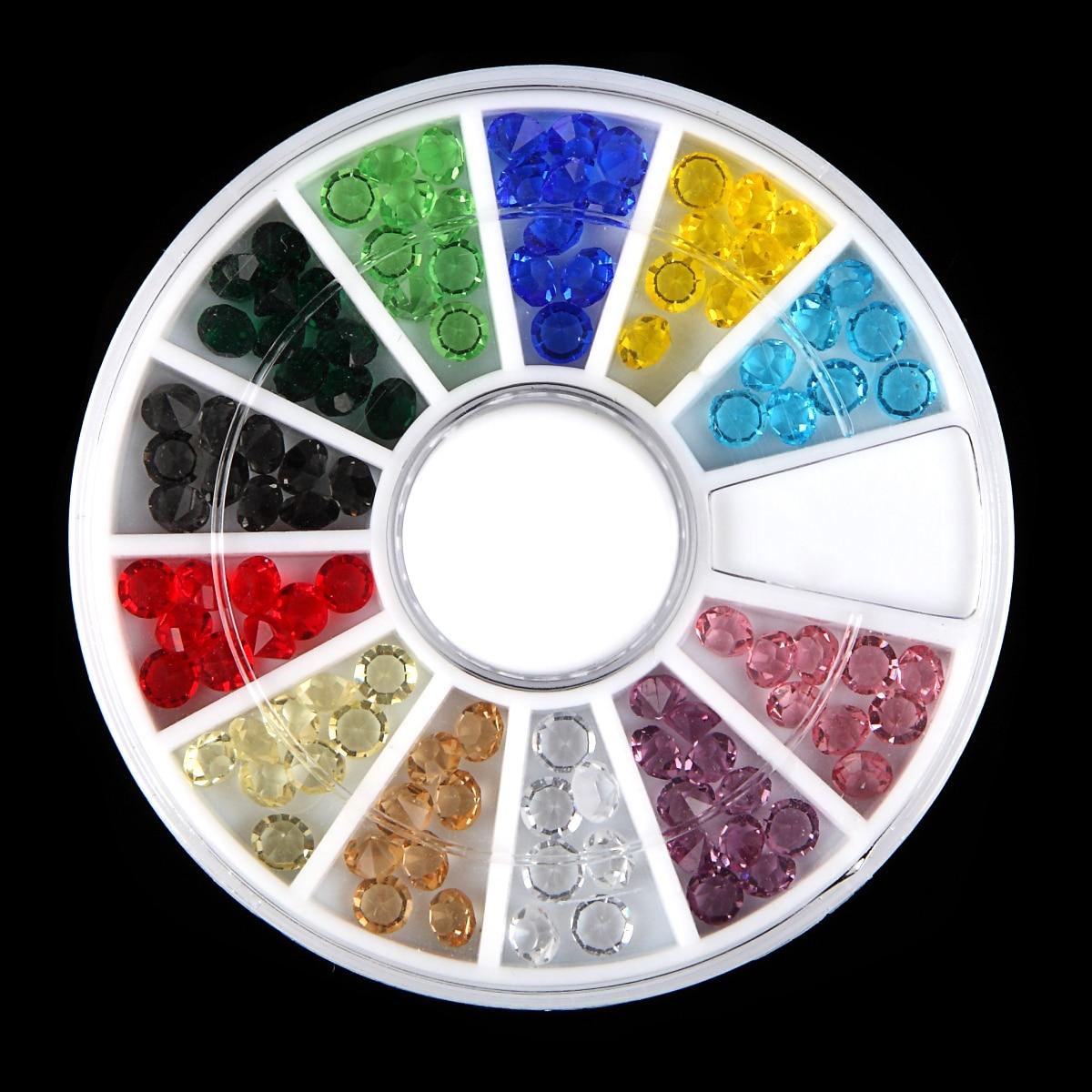 Bunte Acryl Nail art Glitter Strass Kegel Unten Decor Rad ...
