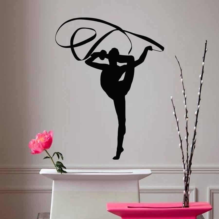 Girls Room Ribbon Gymnast Wall Sticker Vinyl Decals Art Design Sport Wallpaper