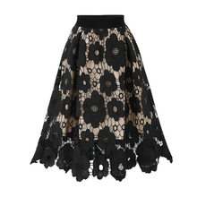 Black Vintage Midi Lace Skirts for Women Asymmetrical Ladies Office Skirt Summer High Waist Punk Party Steampunk Skirt Saias(China)
