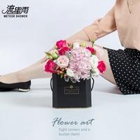 แฟชั่นแปดเหลี่ยมถือถังมือถือกล่องแต่งงานร้านดอกไม้วันวาเลนไทน์ดอกไม้จัดดอกไม้สร้างสรร...