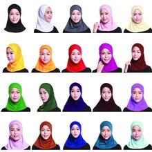 Модная женская шапочка с шарфом, хиджаб, накидка на шею, внутренние хиджабы, мусульманские головные уборы, однотонные кепки, 2019
