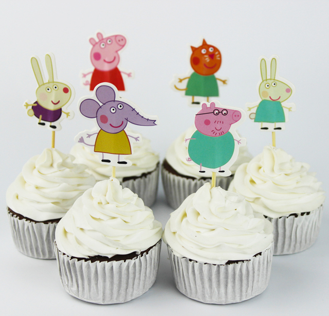 Cute Design Cupcake Toppers 24 pcs/set