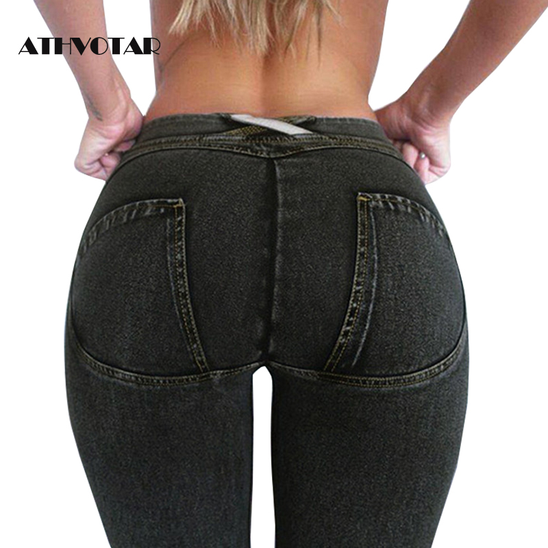 ATHVOTAR Mom   Jeans   Woman Low Waist Womens   Jeans   Fake Pocket Boyfriend   Jeans   For Women Denim Skinny Pencil Pants