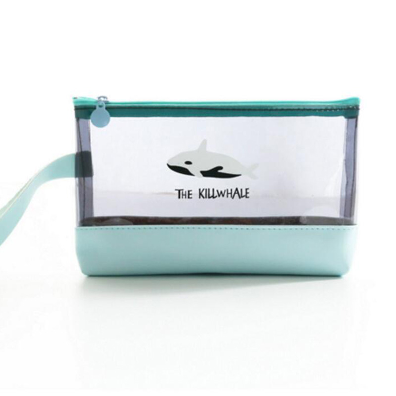 BONAMIE Women PVC Cosmetic Bag Cute Shark Penguin Bear Makeup Bag Lady  Transparent Travel Toiletry Pouch Waterproof Make Up Bag-in Cosmetic Bags    Cases ... f4517dab4a58
