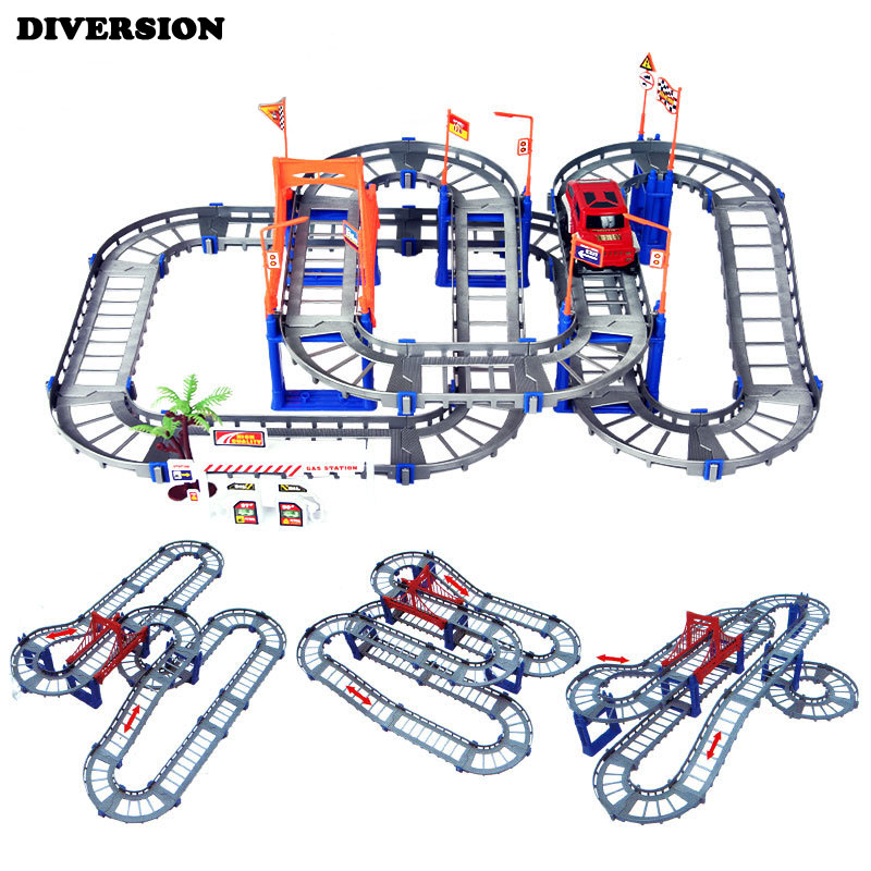 73pcs set DIY track toy car vehicles 100 styles changing tracks car set education DIY track