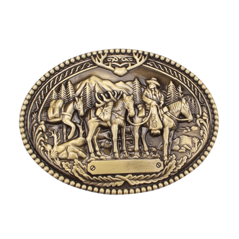The Western Style Businessman Cavalry Belt Buckle Cowboy Belt Accessories
