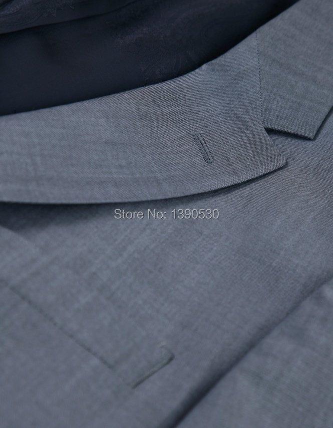 VENTE CHAUDE 100% laine faite sur mesure gris clair revers revers - Vêtements pour hommes - Photo 2