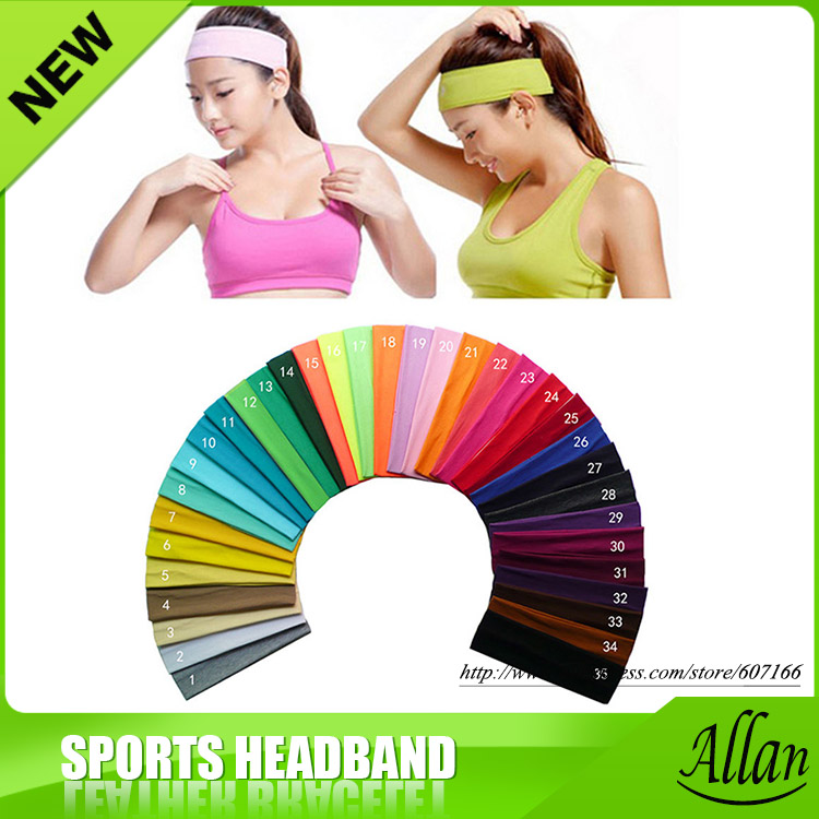 131 kleur katoen stretch hoofdbanden yoga softball sport soft hair band wrap zweetband head-in Haarsieraden van Sieraden & accessoires op  Groep 3