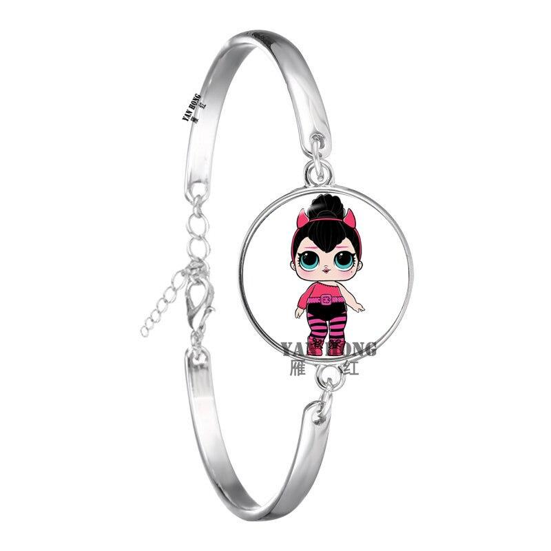 Красивый кукольный стеклянный браслет 20 мм стеклянный купол мультфильм ювелирные изделия круглый стеклянный браслет детский очаровательный подарок - Окраска металла: 4