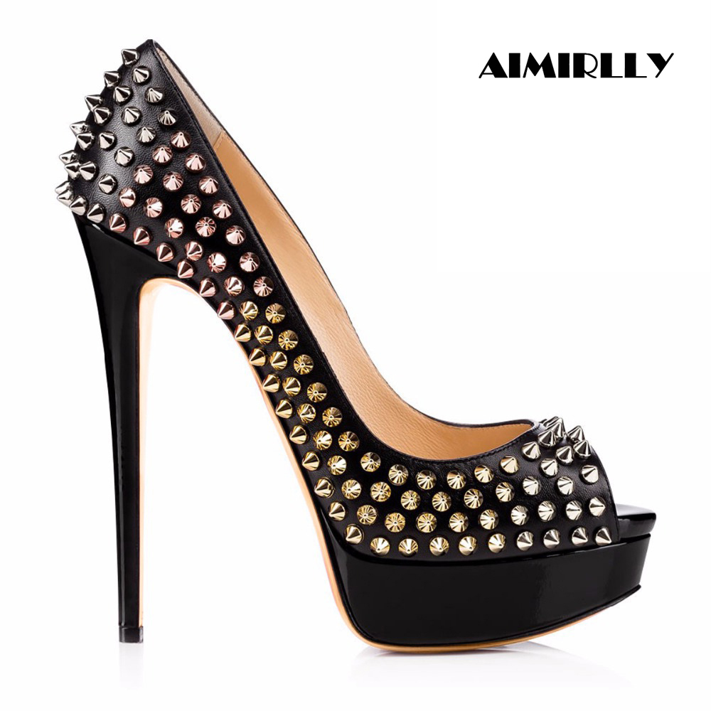 2019 Women Shoes High Heels Pumps Rivets Platform ...