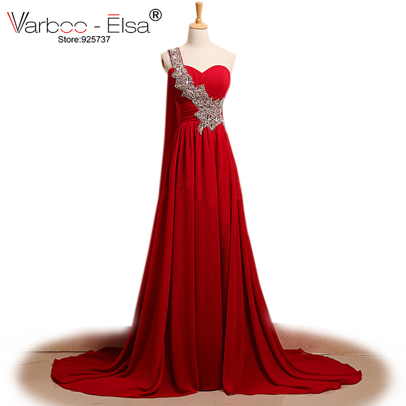 Red Gown Real Photo Chiffon Long Evening Gowns One Shoulder Evening Dress Bead Sequins Pleated Floor