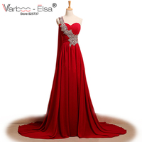 Red Gown Real Photo Chiffon Long Evening Gowns One Shoulder Evening Dress Bead Sequins Pleated Floor Length Red Evening Dresses