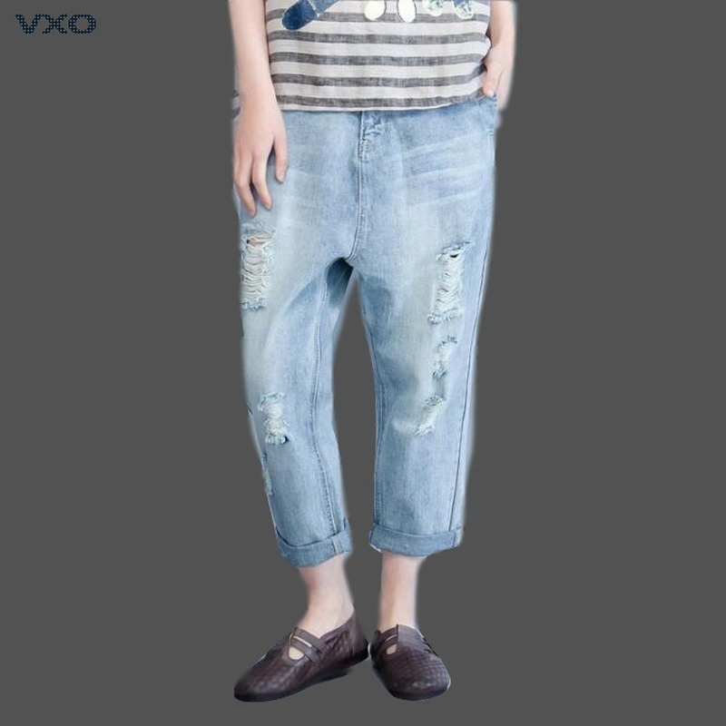 VXO 2019 Women Cross Jeans Loose Female Denim Pants Hole Jeans Female Spring Cotton Denim Pants Ankle-Length Jeans