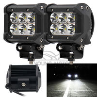 2pcs 4 18W 1260 Lumen Motorcycle 6 LED Spot Beam Fog Light Bar Off Road Truck