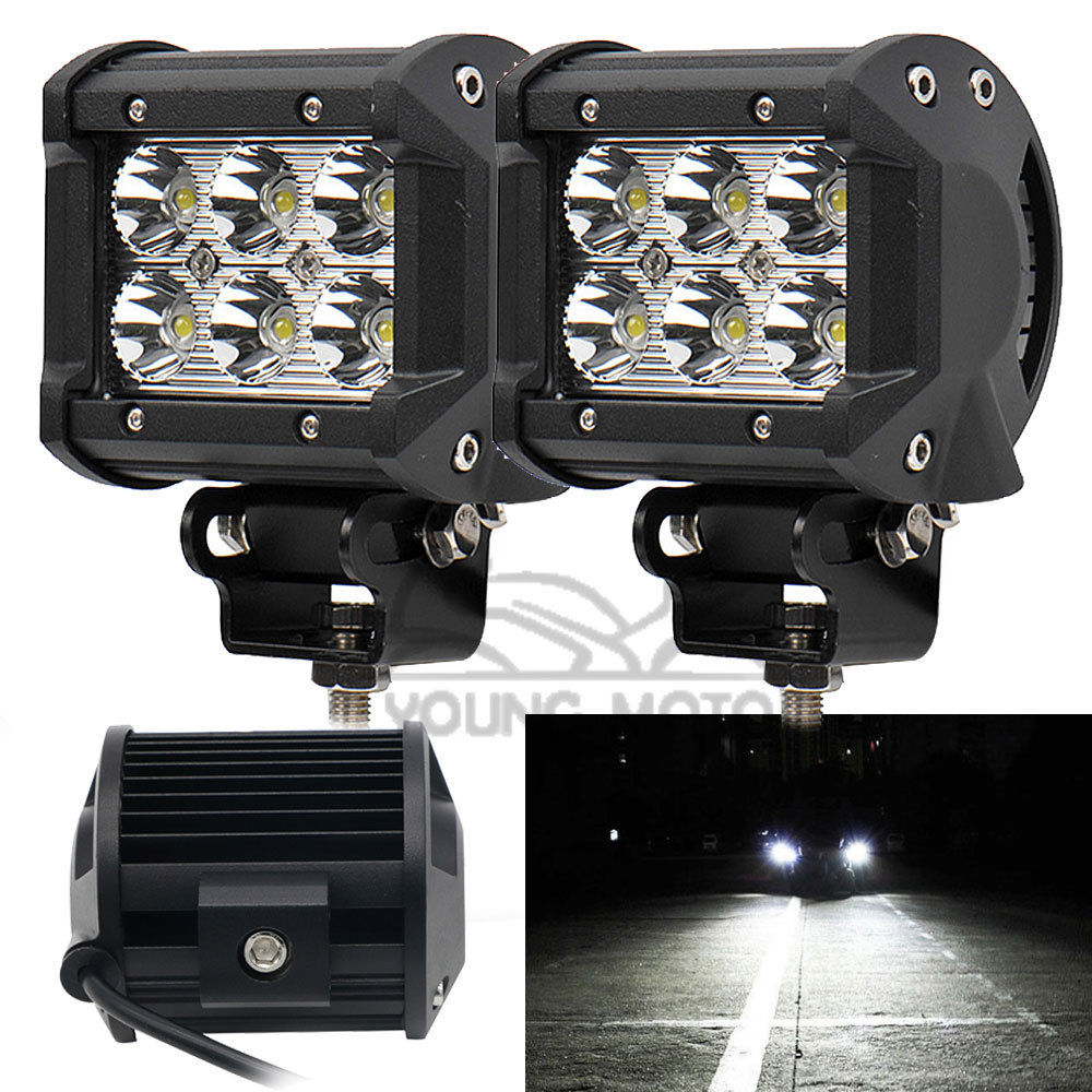 """Prix pour 2 pcs 4 """"pouces 18 W 1260 Lumen Moto 6 LED Spot Faisceau Brouillard Lumière Bar Hors route Camion De Voiture SUV Bateau 4wd ATV Auxiliaire Conduite Lampe"""