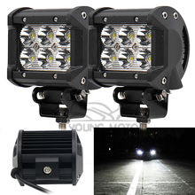 2pcs 4″ 18W 1260 Lumen Motorcycle 6 LED Spot Beam Fog Light Bar Off-road Truck Car SUV Boat 4wd ATV Auxiliary Driving Lamp
