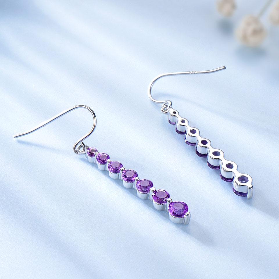 UMCHO Natural Amethyst Purple Gemstone Earrings For Women 925 Sterling Silver Drop Earrings Round Brand Fine jewelry Fashion
