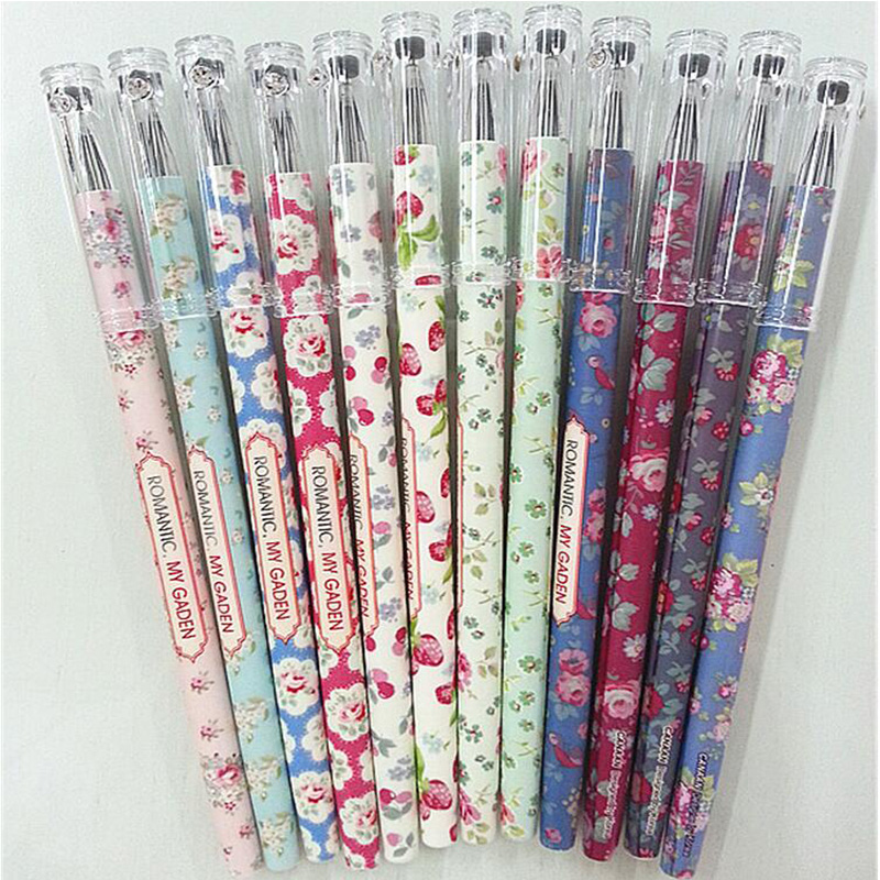 1PCS/Lot Vintage Romantic Flower gel pen Kawaii stationery zakka Office material escolar school supplies вечернее платье vivian s bride dress v vestidos vestido vestidos vb001