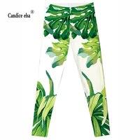 CANDICE ELSA suave mulheres leggings folhas verdes impresso leggins elastic plus size calças sexy athleisure para transporte da gota feminino