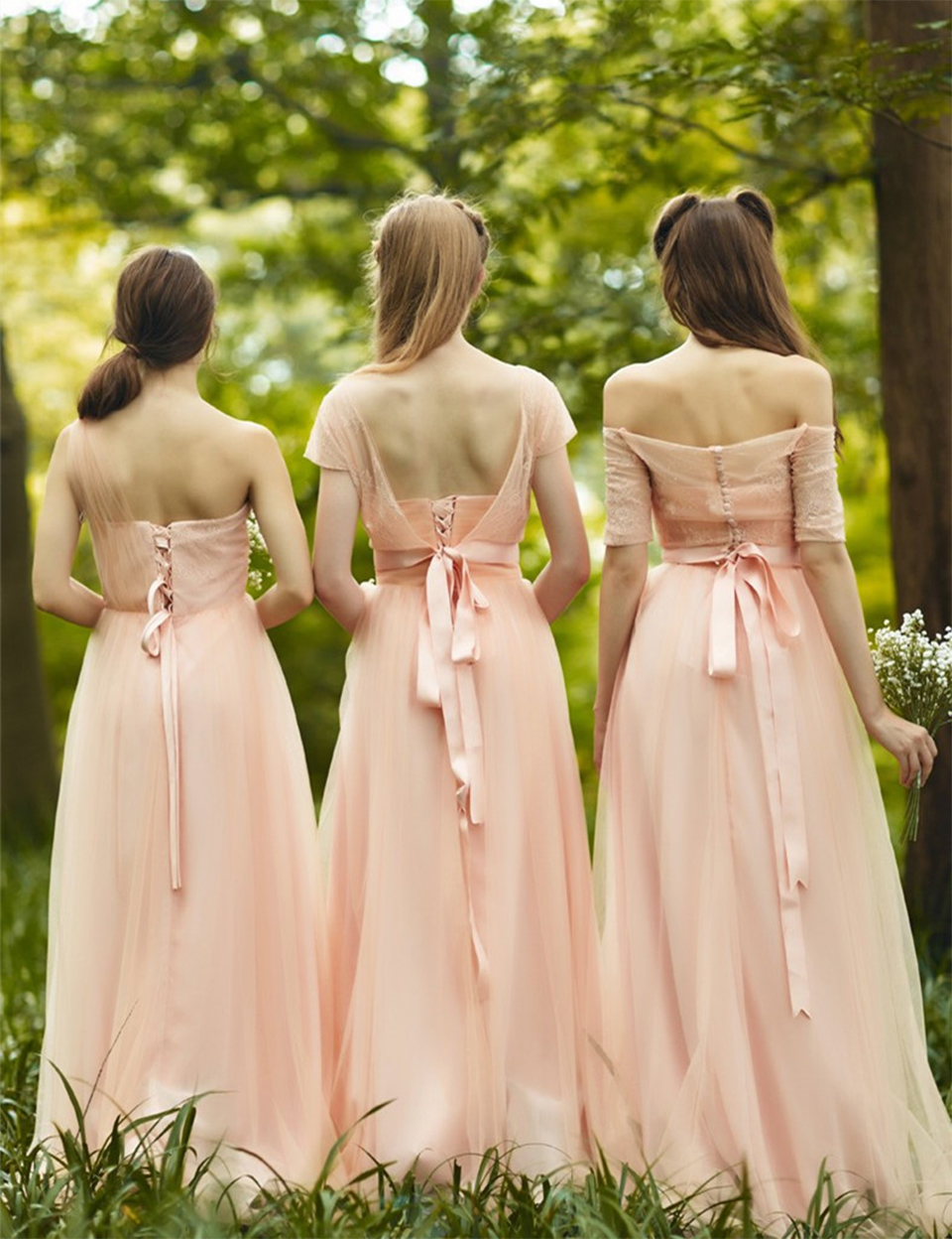 Romantic Long Blush Bridesmaid Dresses With Sleeves Pleat Tulle Lace Cute Bridesmaid  Dress Boat Neck Empire Bridesmaid Gowns B49-in Bridesmaid Dresses from ... fb88a4eae703