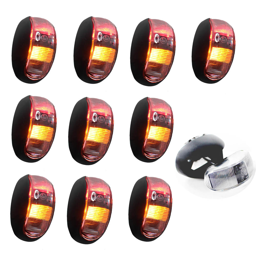 10Pcs Car Side Marker Lights Clearance <font><b>Lamp</b></font> for 10-30V Truck RV Trailer Pickup Turn Signal 2 Led Red Yellow Passed <font><b>E4</b></font> E-mark image