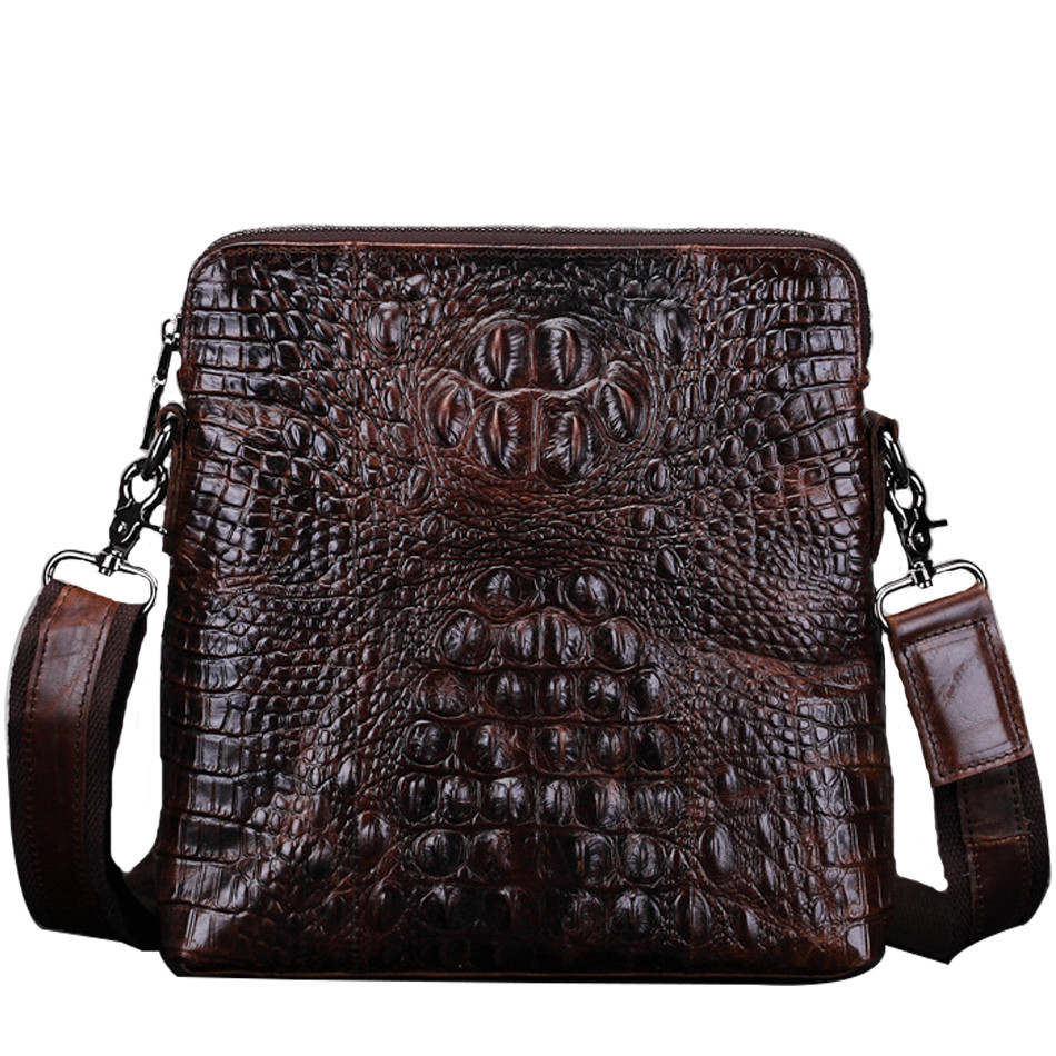 2018 Brand 100% Genuine Leather Men's Crossbody Bag Casual male Shoulder Bags Vintage crocodile print Men Bag sacoche homme simline brand vintage casual 100