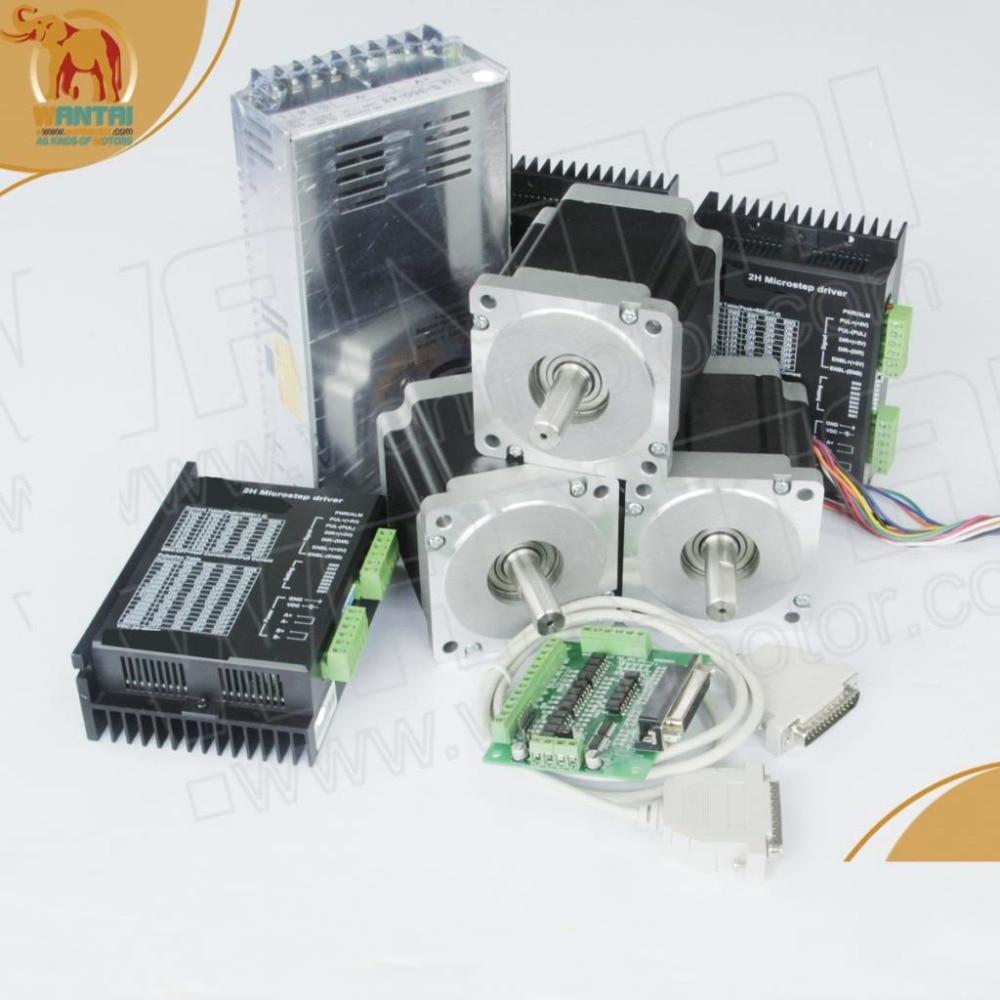 Power Kit! CNC Wantai 3 Axis Nema 23 Stepper Motor Dual Shaft 57BYGH115-003B 425oz+Driver DQ542MA 50V 4.2A 128Micro Foam Metal