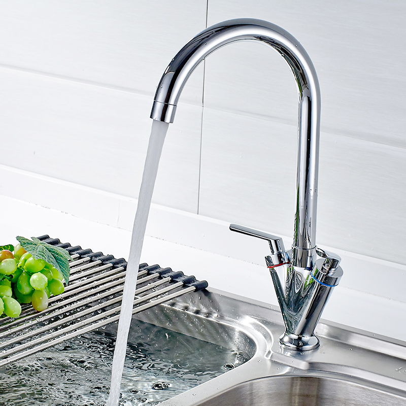 FLG Kitchen Mixer Tap 360 Swivel Dual Handle Water Tap Chrome Kitchen Taps Torneira Cozinha Grifo Cocina 237 33C in Kitchen Faucets from Home Improvement