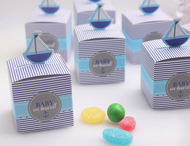 50 pcs Baby on Board Candy boxes boat shower favors birthday party decorations kids souvenir wedding wedding favors and gift ...