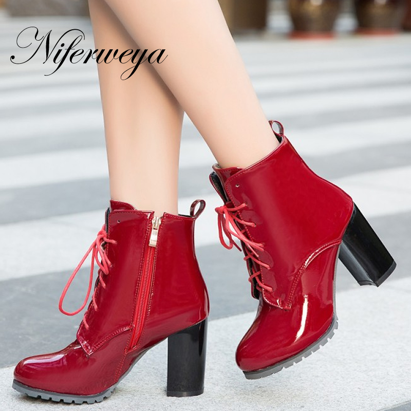New Fashion spring/autumn women zipper Ankle boots Big size 31-50 sexy Round Toe Cross-tied thick heel high heels zapatos mujer new arrival fashion bling chunky high heels woman pumps spring autumn unique cross tied pointed toe party zapatos mujer tacon