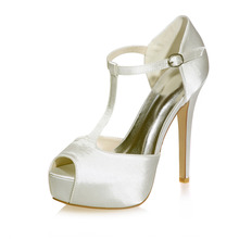 "Woman platform 5"" high heel T strap satin dress shoes evening party wedding woman shoes platform stiletto silver white ivory"