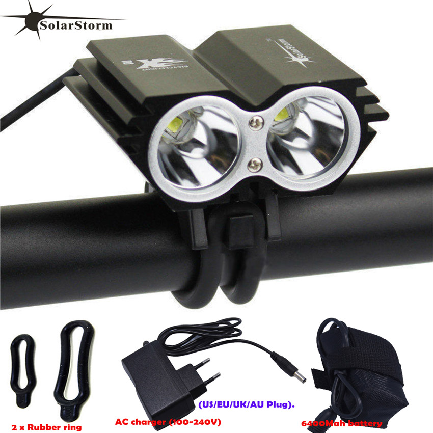 SolarStorm X2 Waterproof Bike Light 5000LM 2 X T6 LED Front Bicycle Headlight Dual Lamps for Cycling Led bike +18650 Battery