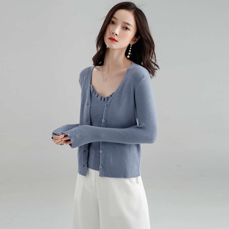 2pcs Camis+Sweater Cardigan Women Blue V Neck Single Breasted Womens Outerwear Coat Sueter Mujer 2019 Autumn RWC185002