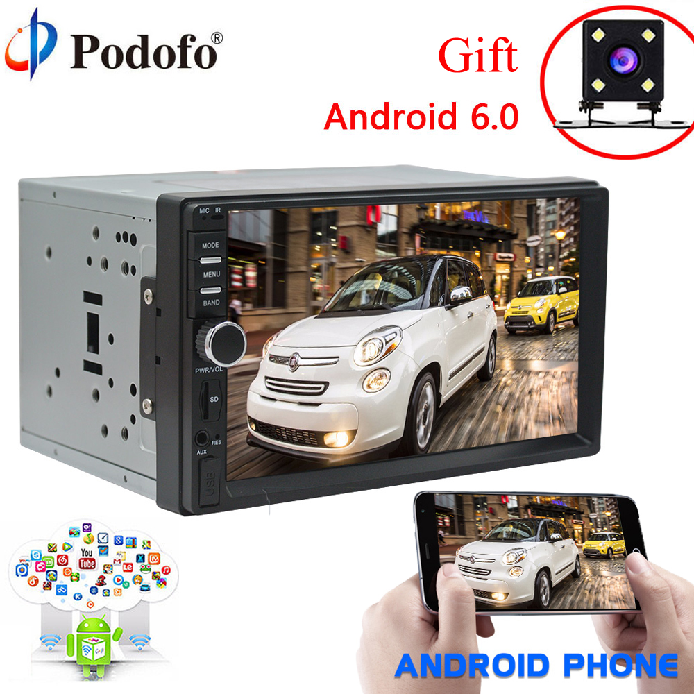Podofo 7HD Android 6.0 Car Radio GPS Navigation mirror link Bluetooth 2 Din Touch Screen Autoradio AUX MP3 MP5 Player FM Stereo podofo 2 din car multimedia player gps navigaiton camera map 7 hd touch screen bluetooth autoradio mp3 mp5 player 7018g radios