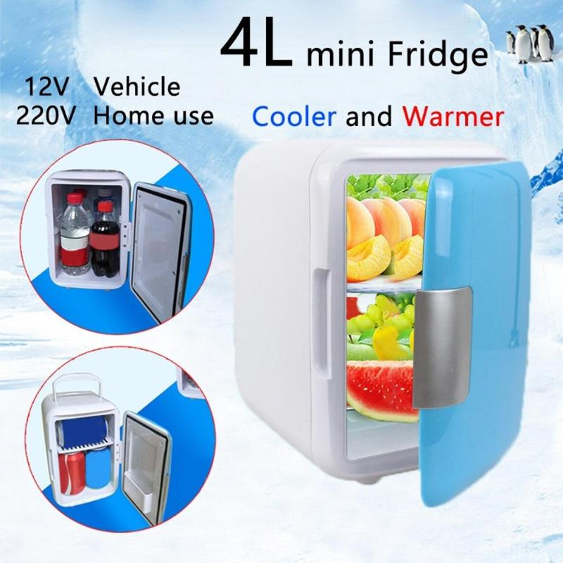 Dual-Use 4L Home Refrigerators Ultra Quiet Low Noise Mini Refrigerators Freezer Cooling Multifunction Fridge 12V/220V